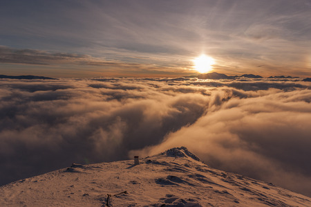 inversion: Sunset during inversion. Tatry Stock Photo