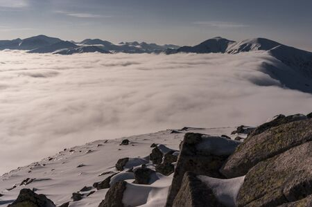 inversion: Beautiful mountain landscape during inversion