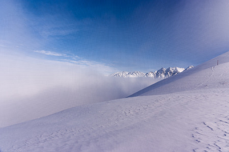 inversion: Beautiful winter landscape Tatra Mountains during inversion