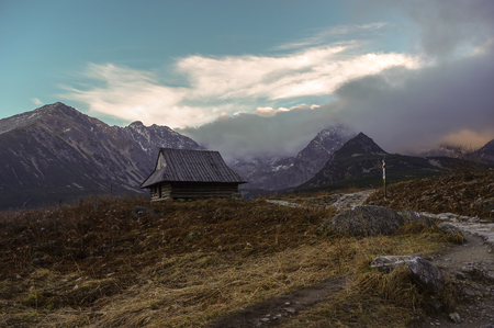tatra: View of mountain valley and peaks during very strong wind. Tatra Mountains.