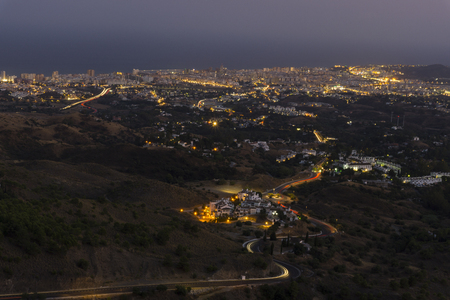 Costa del Sol night view from Mijas. Spain.
