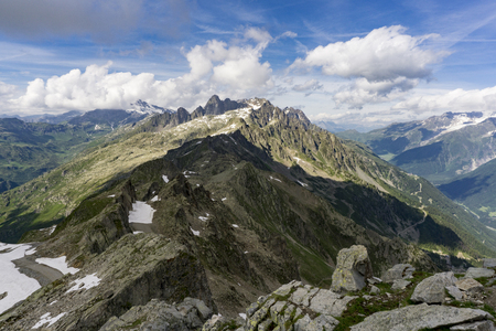 le: Beautiful Alpine view from the summit of Le Brevent. France. Stock Photo