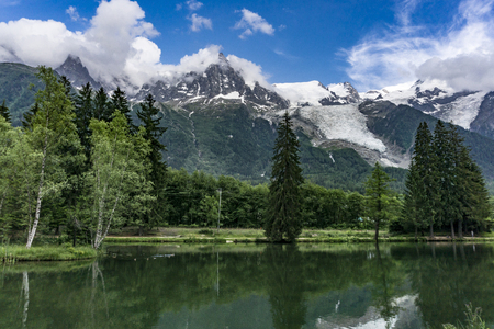 Lake Gaillands with a view of the Mont Blanc. Chamonix. France.