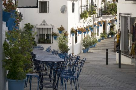 The scenic beauty of street Mijas. Costa del Sol. Andalusia. Stock Photo