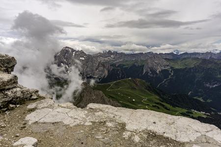 View from the Sas Pordoi peak. Dolomites. Italy.