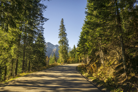 Beautiful landscape road to Morskie Oko. Tatra Mountains. Poland.