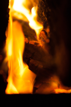 Flame of fire in a tree stove Stock Photo