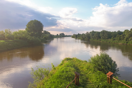 View of the confluence of the Wislok river into the San river, Glogowiec, Poland