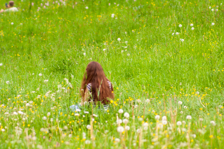 A young girl with dissolved dark hair is sitting backwards on a green meadow full of flowers