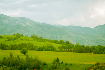 green mountain meadow with mountain range in the background Stock Photo