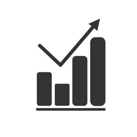 Graph Icon in trendy flat style isolated on grey background. Chart bar symbol
