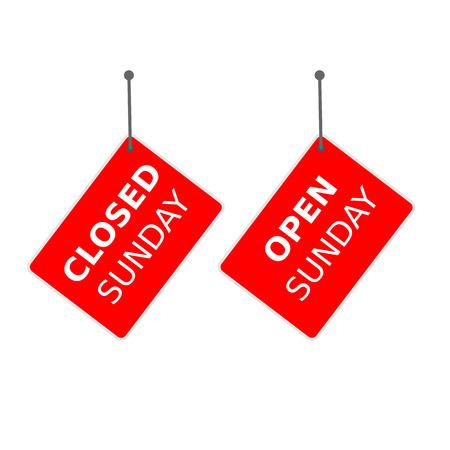 red sign closed sunday Ilustração
