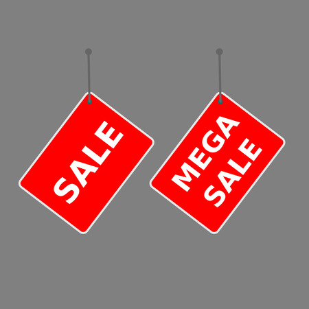 red sign sale and mega sale tag on dark background.