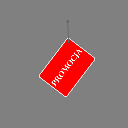 polish red sign promocja tag on dark background.