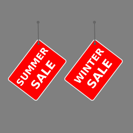 red sign summer sale and winter sale tag on dark background.