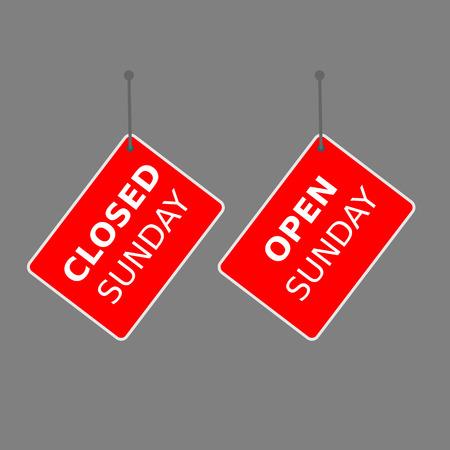 red sign open sunday and closed sunday tag on white background. Ilustração