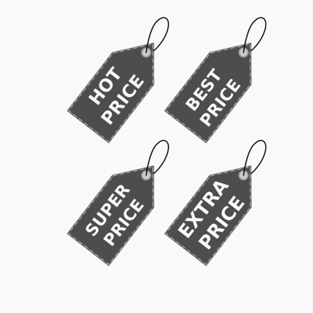 Vector collection of brown sale tags with text - Hot price, best price, super price, extra price. Labels for banners and posters design. Isolated from the background 일러스트