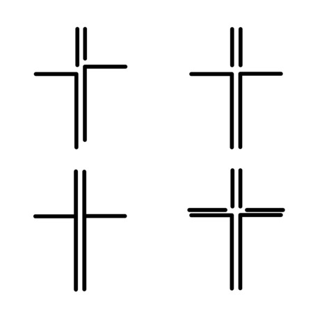 Hand-drawn black crosses outlines, Christian crosses black silhouettes collection isolated over white background, Ilustração