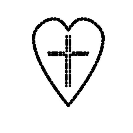 Christian cross icon in the heart inside. Black christian cross sign isolated on light background. Vector illustration. Illustration