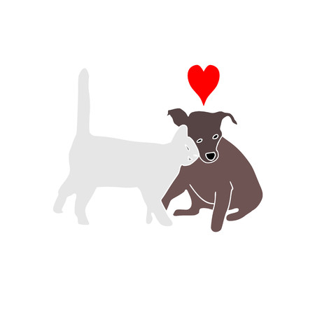 cat and dog friendship family. Beautiful animal .Cat and dog love vector