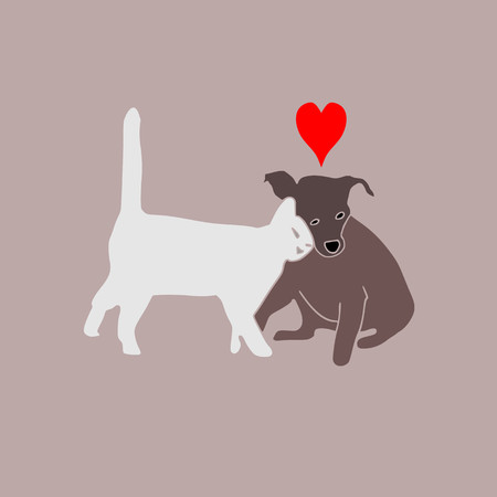 cat and dog friendship family. Beautiful animal .Cat and dog love vector Zdjęcie Seryjne - 122903312