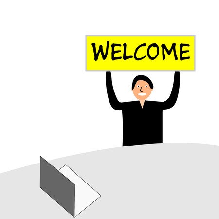 Banner with the words welcome. The man sits at a desk with a laptop.