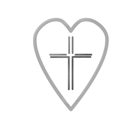 Christian cross icon in the heart inside. Black christian cross sign isolated on light background. Vector illustration. Illustration