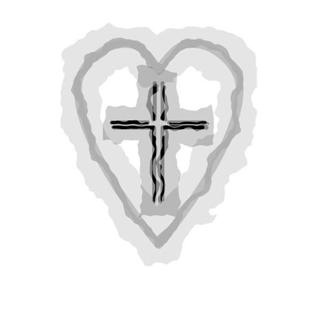 Christian cross icon in the heart inside. Black christian cross sign isolated on light background. Vector illustration. 일러스트