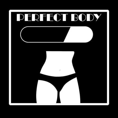white woman body and pants. perfect body loading bar. Slimming and fitness concept vector on black background. Stock Illustratie