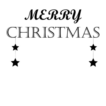 Merry Christmas text design. Vector logo, typography. Usable as banner, greeting card, gift package Иллюстрация