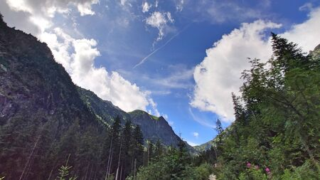 View of the mountains in the Tatra Mountains during the hiking path over Morskie Oko