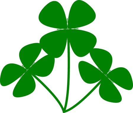 Vector flat style illustration of St. Patricks day green lucky clover leaf isolated on white background Ilustrace
