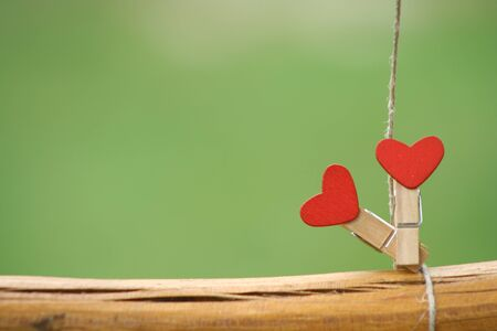 Two  clothes peg with a red heart stands on a tree branch. Green background. Archivio Fotografico