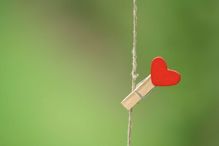 clothes peg with a red hearthanging on line. Green background with grass. Love concept for valentine day. Archivio Fotografico