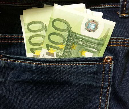 100 euro note in a blue jeans pocket  Stock fotó