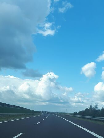 Empty highway as a concept of trips and transport. Asphalt roads in Poland. Traveling around the country.