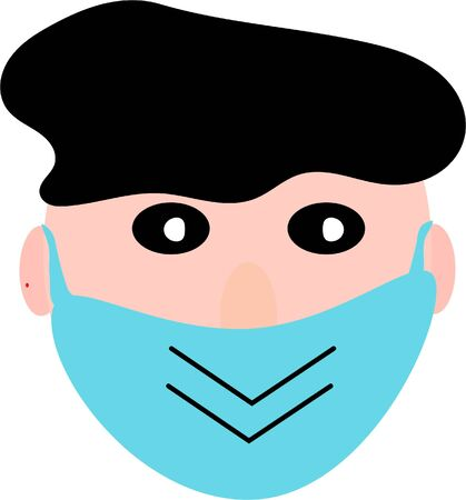 Cartoon face with green epidemic mask for coronavirus concept background. Covid symbol vector. Medical protection.