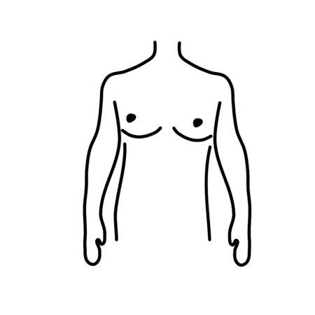 Sketch woman body vector. Drawing girl contour. Sexy person symbol icon. Model breas vector. Vector Illustration