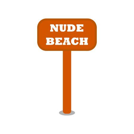 A wooden brown sign saying Nude Beach. Vector illustration icon.