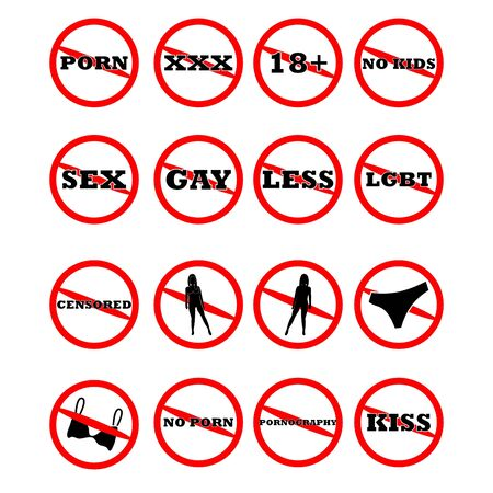set no porn, sex,18+, gay, less, lgbt, censored, kiss, pants, bra, naked, xxx, isolated on white background,warning label vector