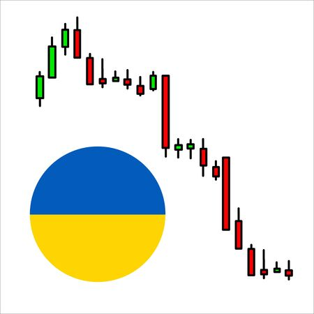 Ukrainian flag with crisis concept chart