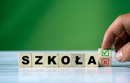 Polish word school on wooden cube