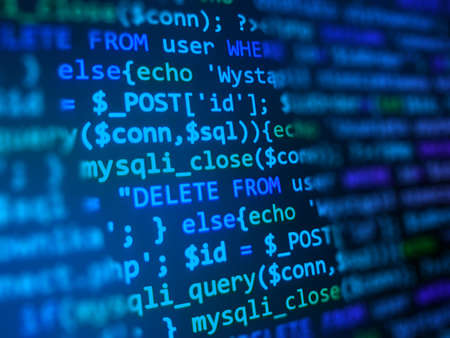 Code development concept. Blue computer monitor. Programming background. Software developer closeup.