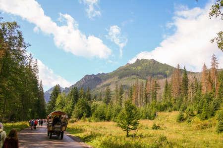 Road to Morskie Oko in Tatra Mountains. Beautiful mountain landscape.
