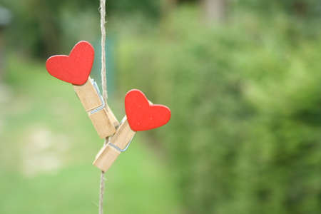 clothes peg with a red heart hanging on line on a background of green grass. Valentine's Day concept as poster or card design.