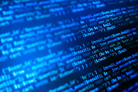 php web programming source code. Abstract code background. WWW software development. Software background. Website codes on computer monitor. 版權商用圖片