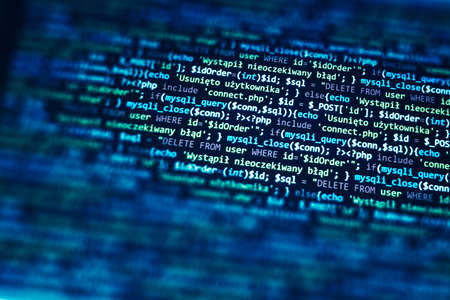 PHP code on computer screen. Software development abstract background. Blue color. Search job or abstract course template for programming.