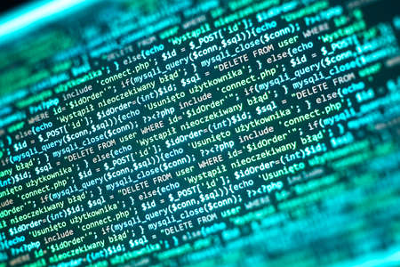 PHP code on computer screen. Software development abstract background. Green color. Search job or abstract course template for programming.
