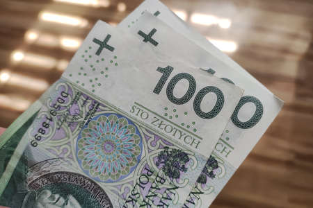 Polish 100 zloty banknotes background. One hundred zloty banknotes