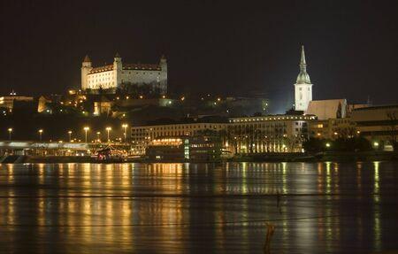 bratislava: Cityscape of Bratislava old town in the night